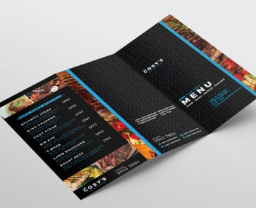 Tri-Fold Restaurant Menu Template Outside