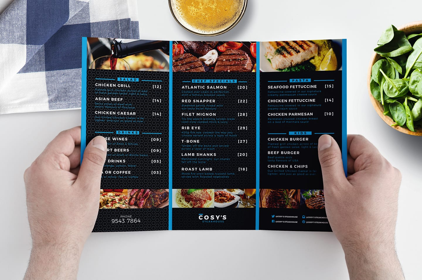 Tri-Fold Restaurant Menu Template