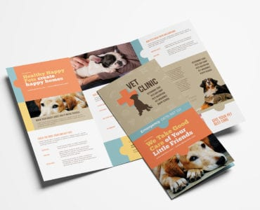 Vet Clinic Tri-Fold Brochure Template