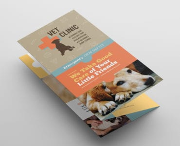 Vet Clinic Tri-Fold Brochure Template Front