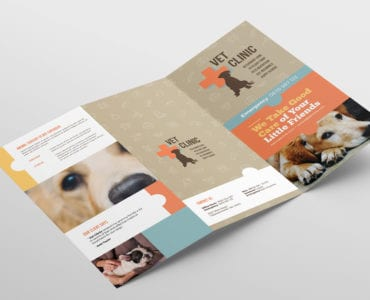Vet Clinic Tri-Fold Brochure Template Outside