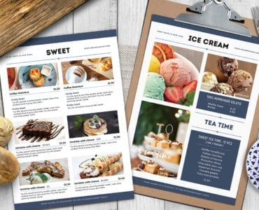 A4 Brunch Menu Template