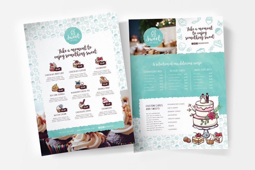 A4 Cake Shop Menu Template