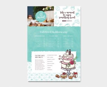 A4 Cake Shop Menu Template