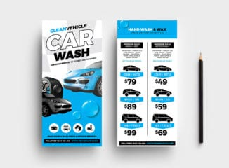 Car Wash DL Rack Card Template