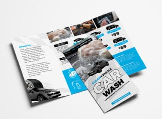 Car Wash Tri-Fold Brochure Template