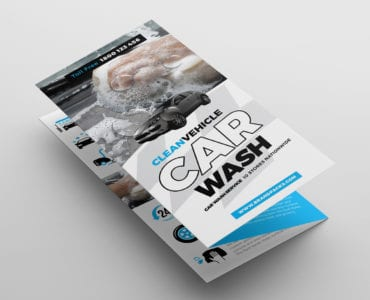 Car Wash Tri-Fold Brochure Template Front