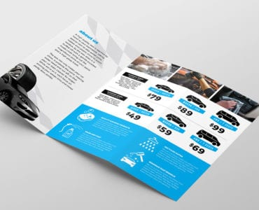 Car Wash Tri-Fold Brochure Template Inside