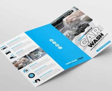 Car Wash Tri-Fold Brochure Template Outside