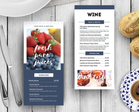 DL Breakfast / Brunch Menu Rack Card Template