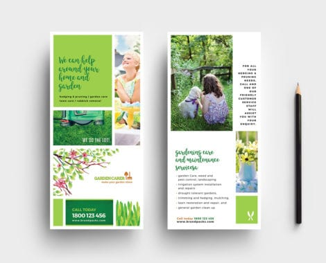 Gardening Service DL Rack Card Template