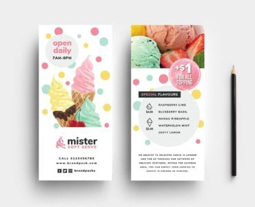 Ice Cream DL Rack Card Template