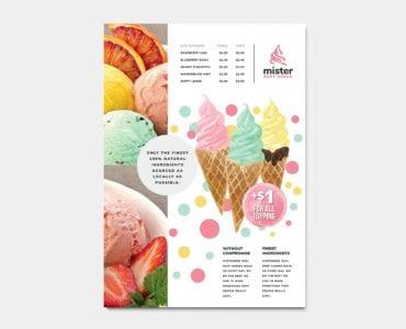 Ice Cream Shop Menu Template