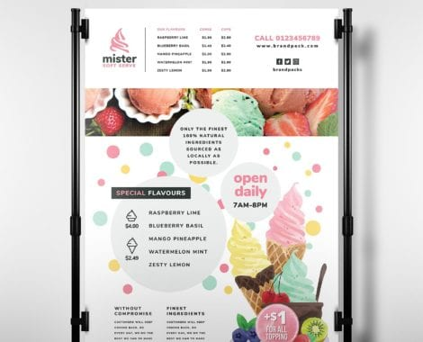 Ice Cream Shop Poster Template