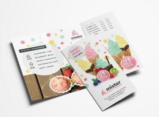 Ice Cream Shop Tri-Fold Menu Template
