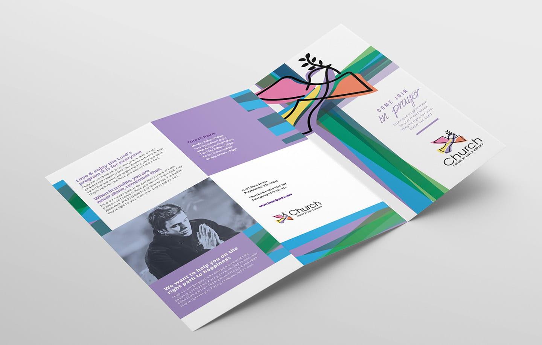 modern church trifold brochure template in psd  ai
