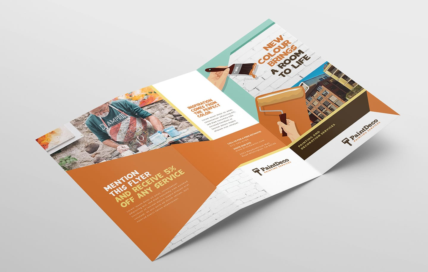 Painter & Decorator Trifold Brochure Template in PSD, Ai ...
