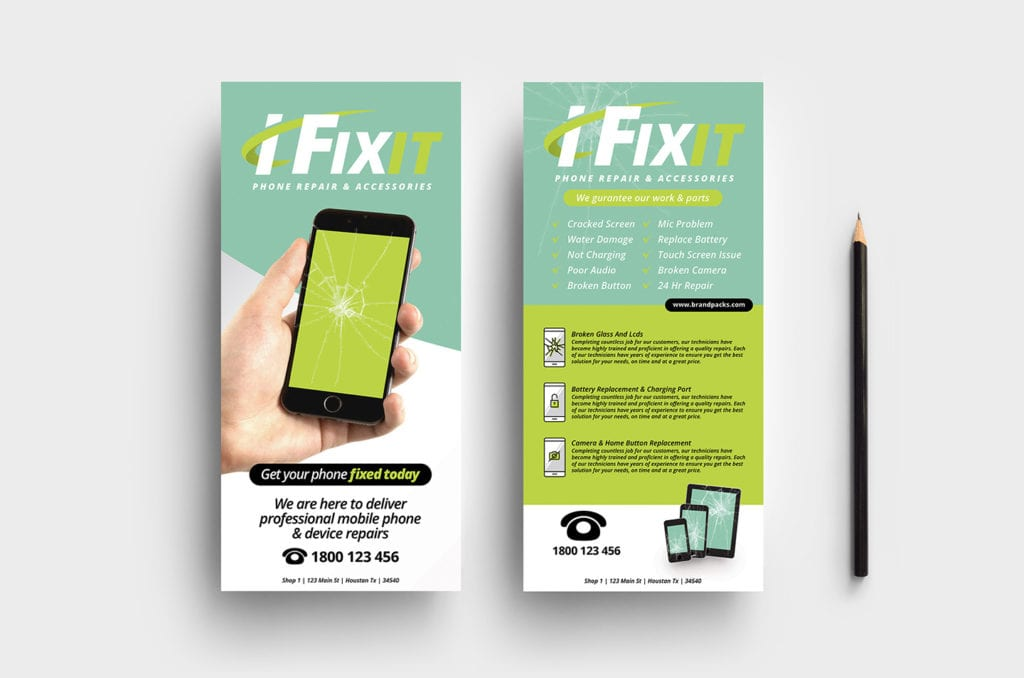 Phone Repair Shop DL Rack Card Template