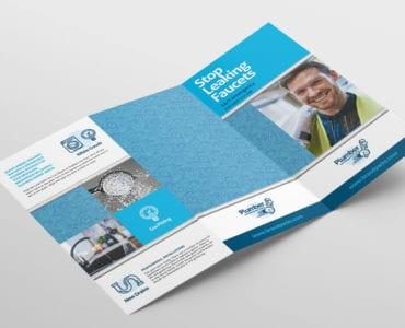 Plumbing Service Tri-Fold Brochure Template Outside