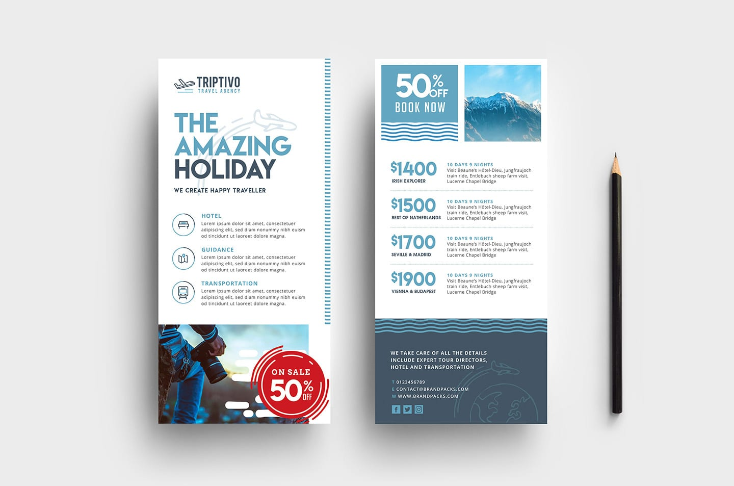 Travel Company DL Rack Card Template