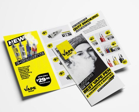 Vape Shop Tri-Fold Brochure Template