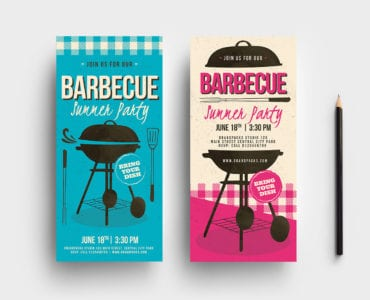 Retro Barbecue DL Card Template