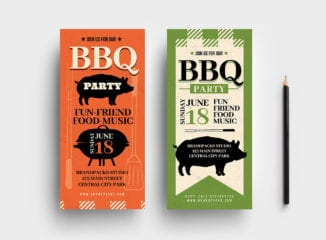 Rustic Barbecue DL Card Template