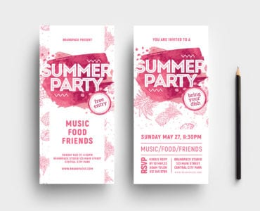 Summer Party DL Card Template