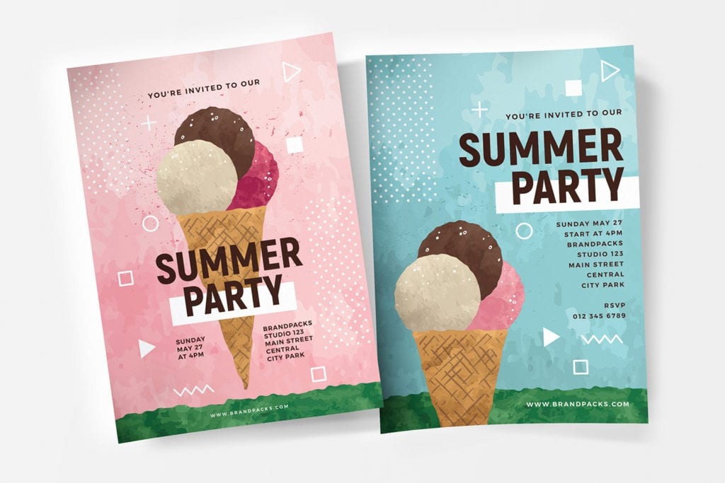Summer Ice Cream Party Poster / Flyer Template