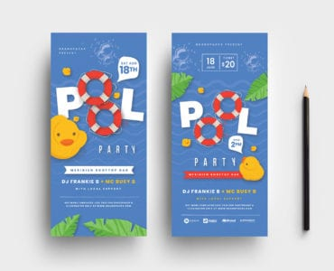 DL Pool Party Rack Card Template