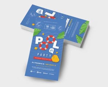 DL Pool Party Rack Card Template back-side