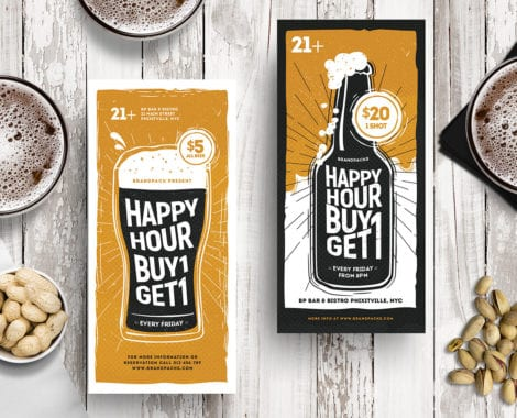 Happy Hour DL Rack Card Template