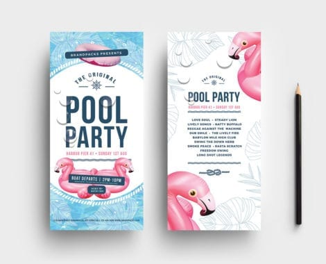 Pool Party DL Rack Card Template