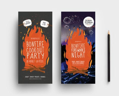 Bonfire Night DL Rack Card Template