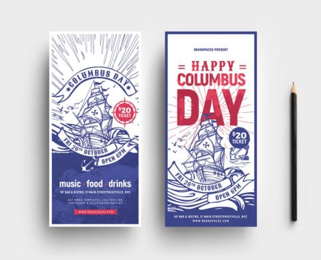Columbus Day DL Card Template