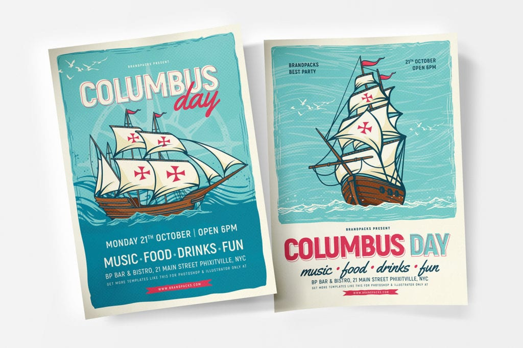 Columbus Day Poster Template