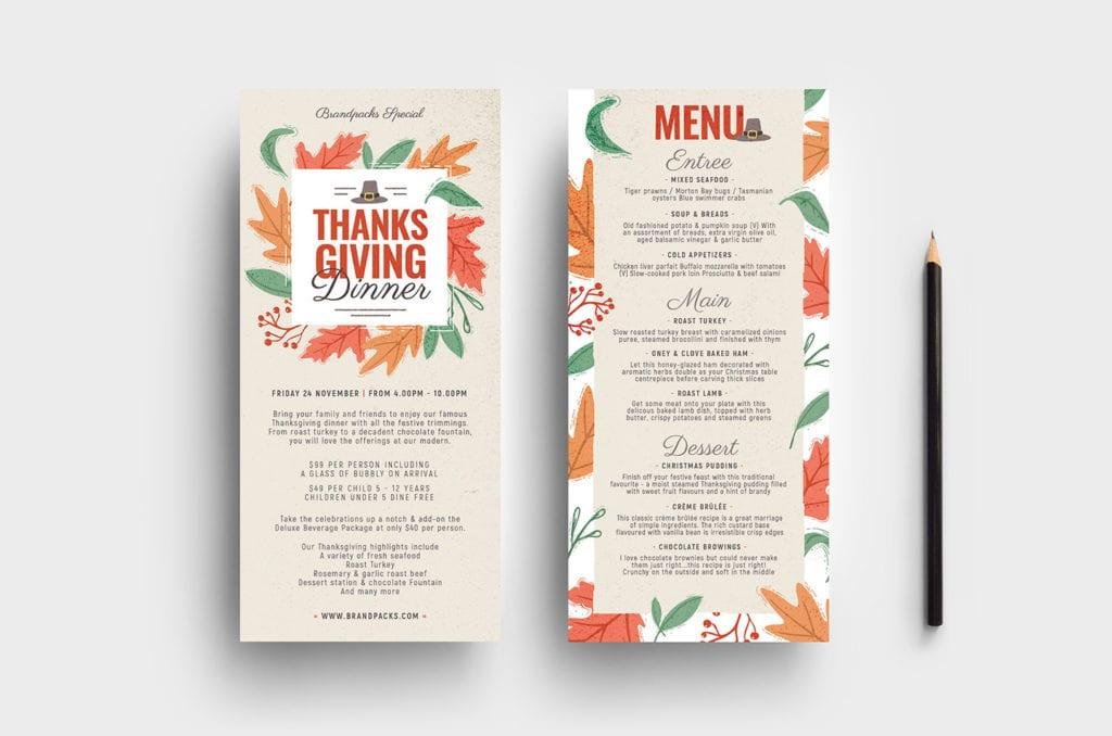 Thanksgiving DL Menu Templates