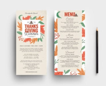 Thanksgiving DL Menu Templates