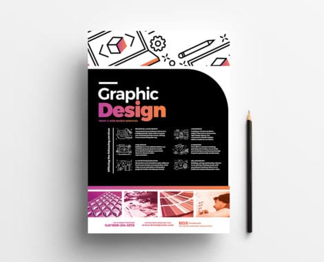 A4 Graphic Design Service Poster Template