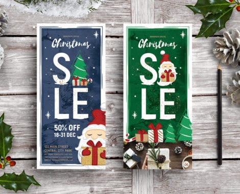 Christmas Sale DL Rack Card Templates
