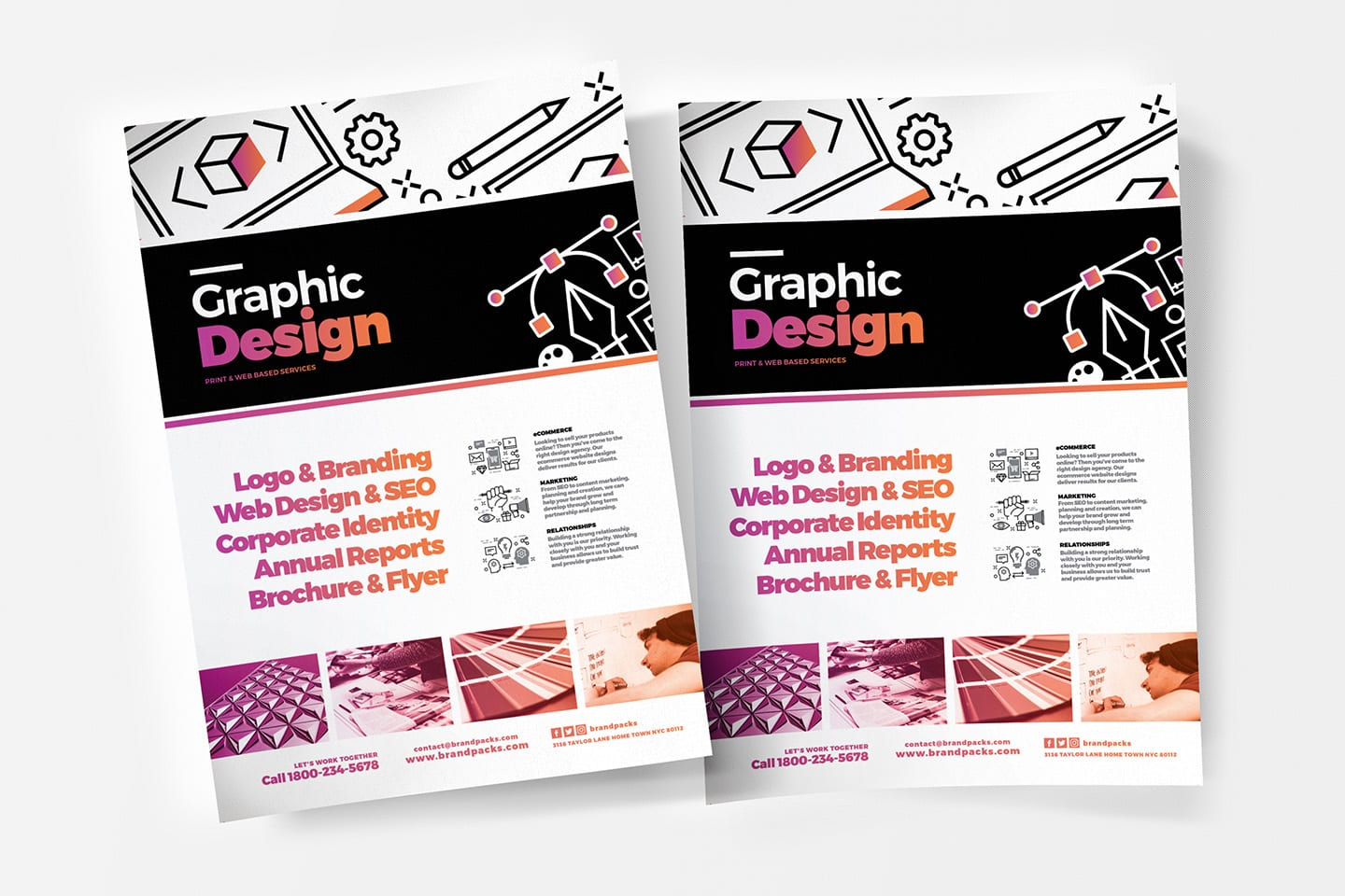 Graphic Design Agency Poster Template for Photoshop & Illustrator