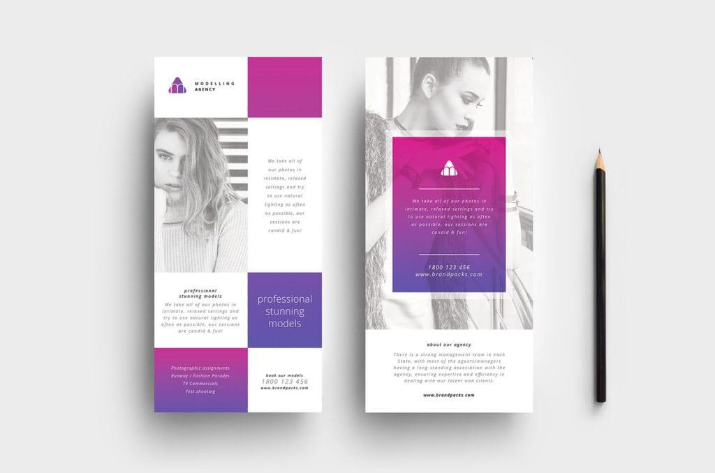 Modelling Agency DL Rack Card Template