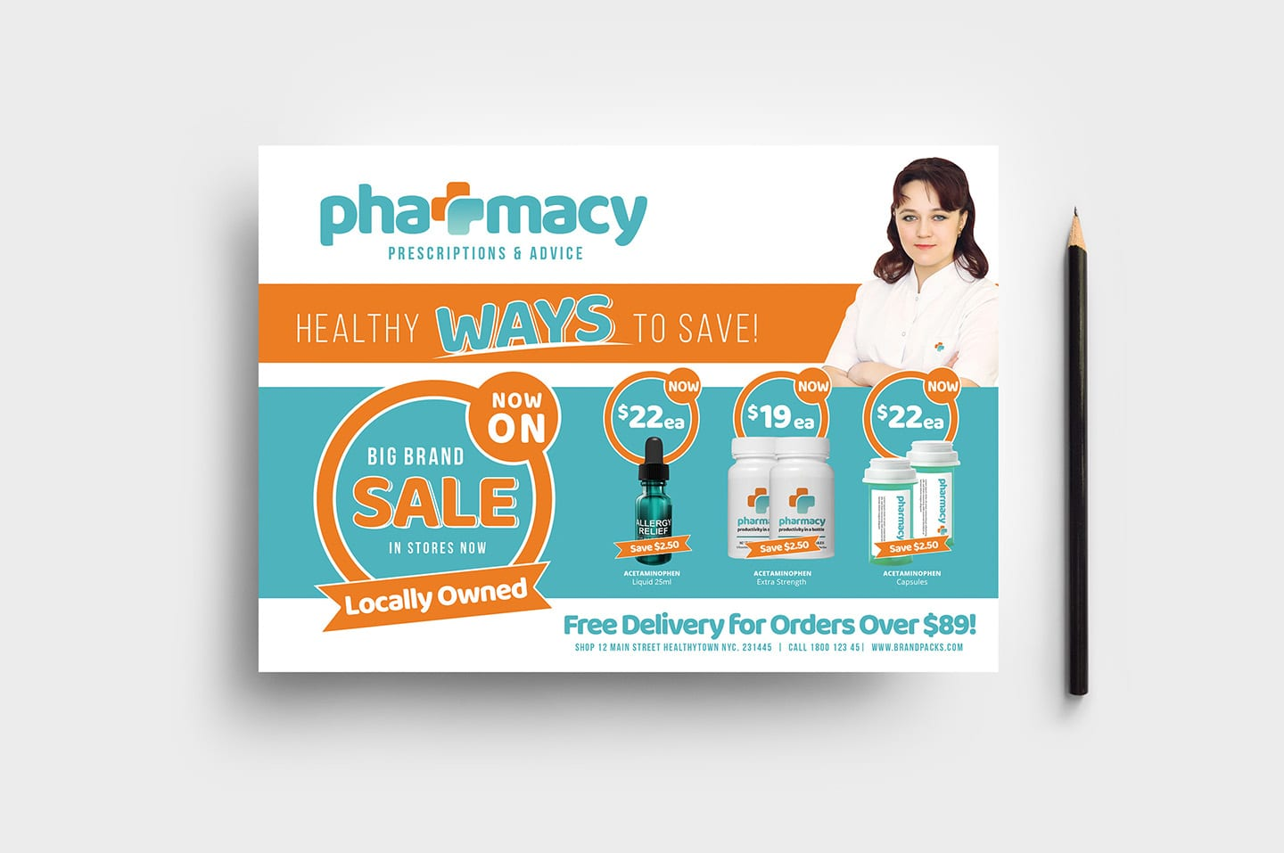 Pharmacy Flyer Template - PSD, Ai & Vector - BrandPacks With Regard To Pharmacy Brochure Template Free