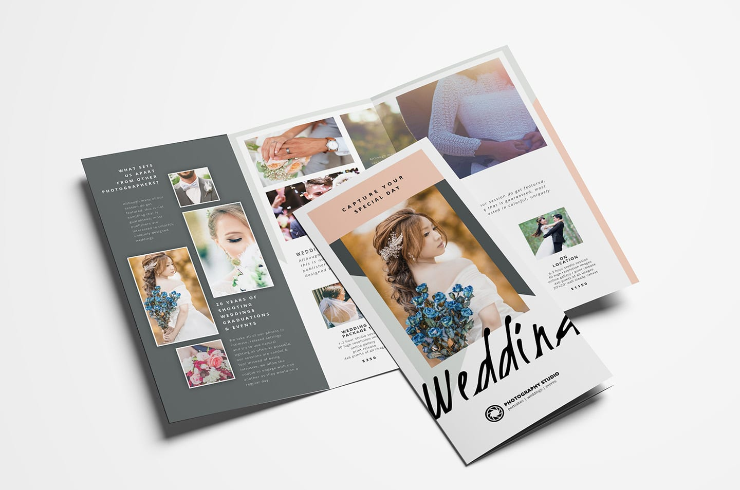 Wedding Photographer Trifold Brochure Template