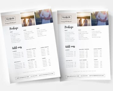 Wedding Photographer Price List Template