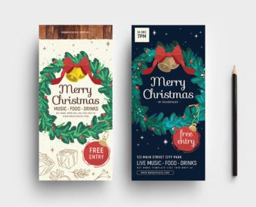 Ornate Christmas DL Card Templates