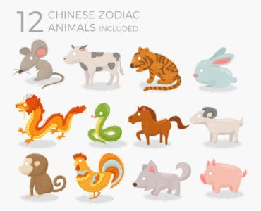 12 Chinese Zodiac Animal Illustrations