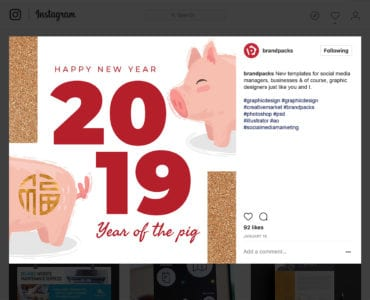 Chinese New Year Template for Instagram, Facebook, Tumblr & Twitter