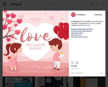 LGBT Valentine's Day Template for Instagram, in PSD & Vector