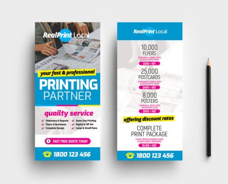 Print Shop DL Rack Card Template